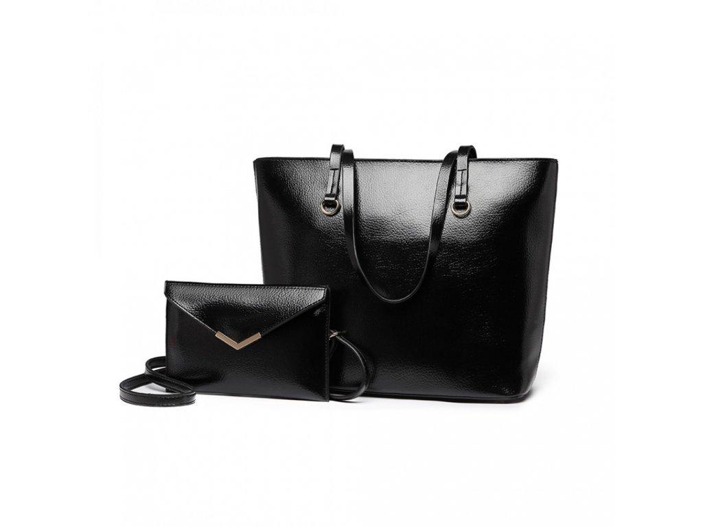 Sada kabelek kabelka do ruky a přes rameno a psaníčko Miss Lulu E1916 BK černá (2)