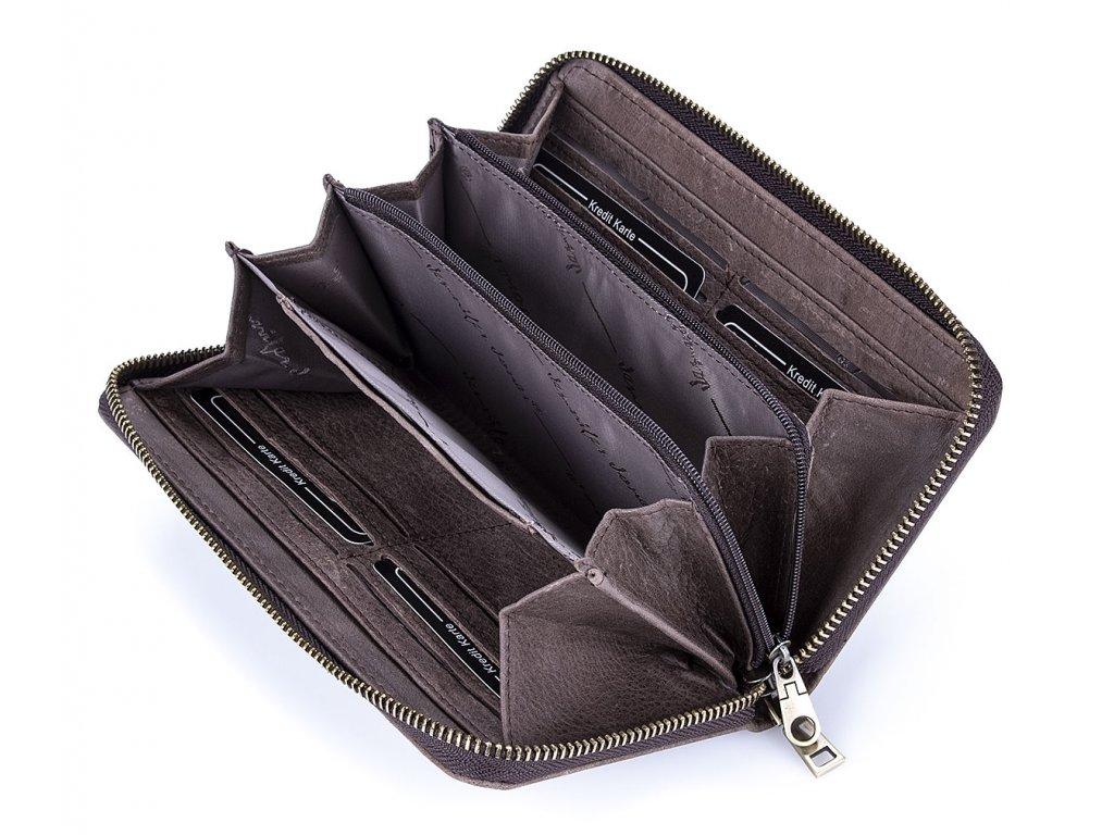 Dámská kožená peněženka velká na zip jennifer Jones 5553 hnědá (3)