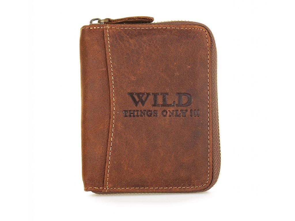 Pánská kožená peněženka na zip Wild 5508 hnědá (1)