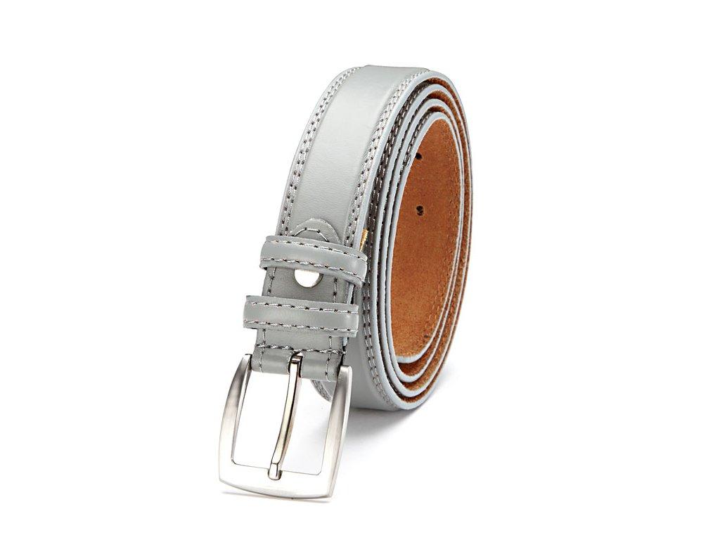 Dámský kožený opasek šedý s prošitím 10035 6 (1)