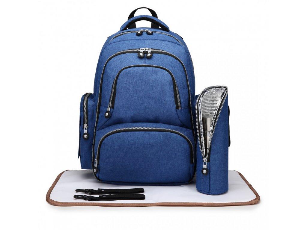 Mateřský přebalovací batoh na kočárek Miss Lulu E6706 modrý (1)