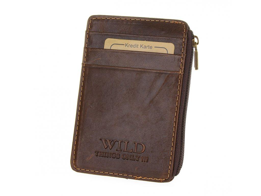 Pouzdro na karty kožené Wild 5296 2 hnědé (1)