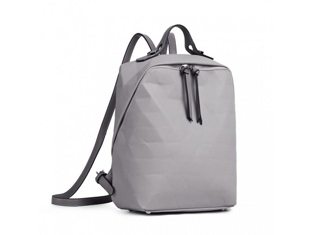 Dámský kožený batoh_batůžek Kono LG1904 šedý