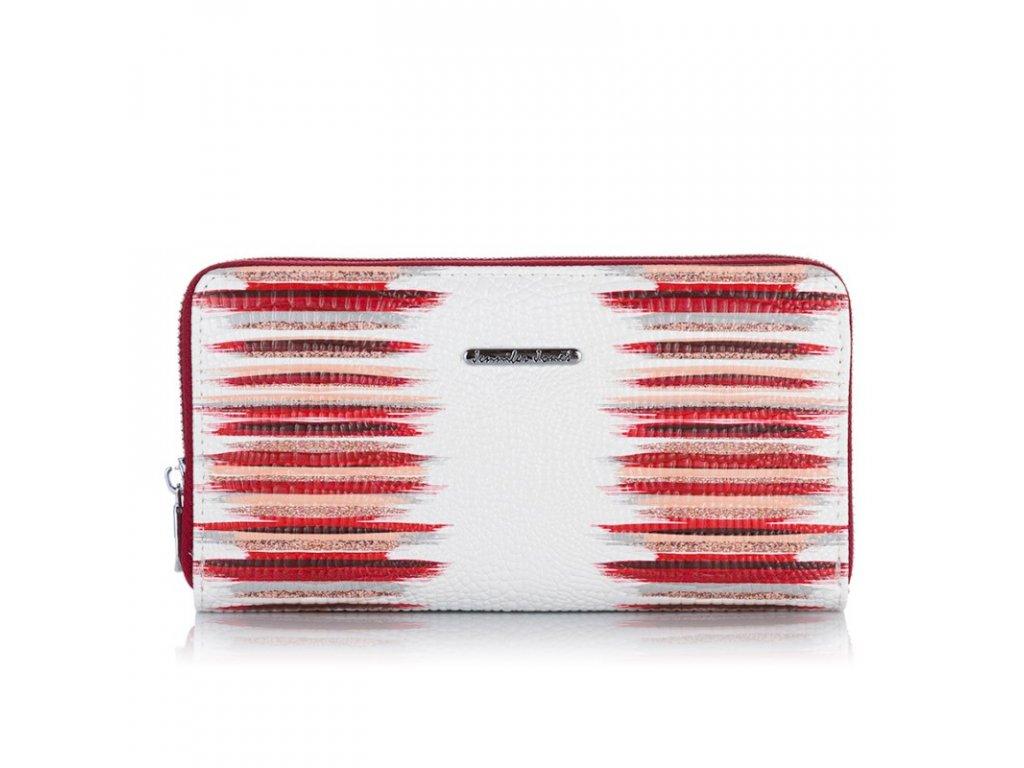 Velká dámská kožená peněženka na zip červeno bílá Jennifer Jones 5295 (2)