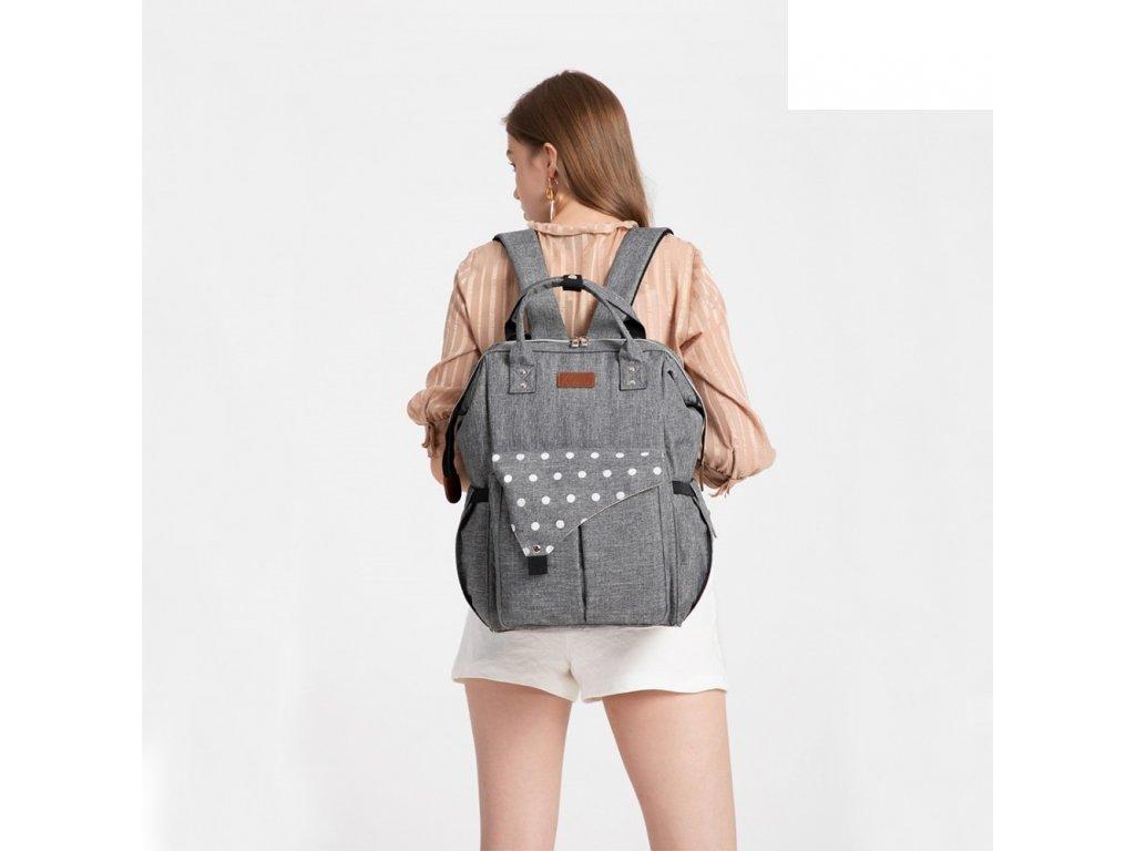 Mateřský přebalovací batoh na kočárek E1945 GY šedý KONO (1)