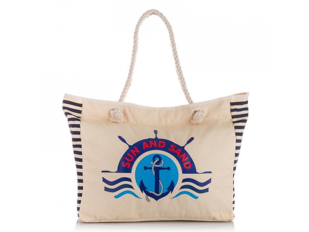 Velká plážová taška na zip plátěná Jenifer Jones 2205 béžová (1)