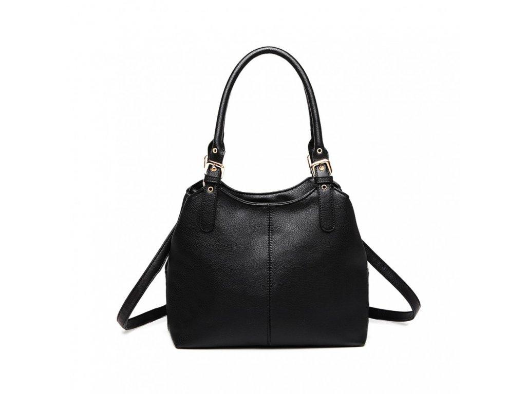 Malá kabelka do ruky a přes rameno umělá kůže Miss Lulu LH1947 BK černá (2)