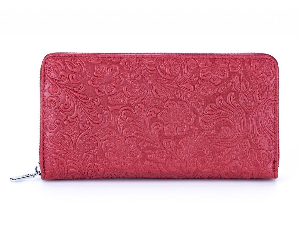 Velká dámská kožená peněženka na zip 5553 červená (2)