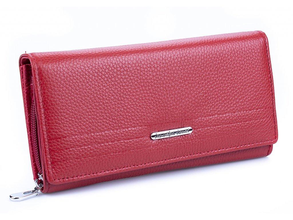 Velká dámská kožená peněženka Jennifer Jones 5374 červená ModexaStyl (2)