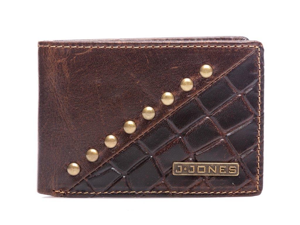 Malá pánská kožená peněženka s cvoky J JONES hnědá 5562 BN (3)