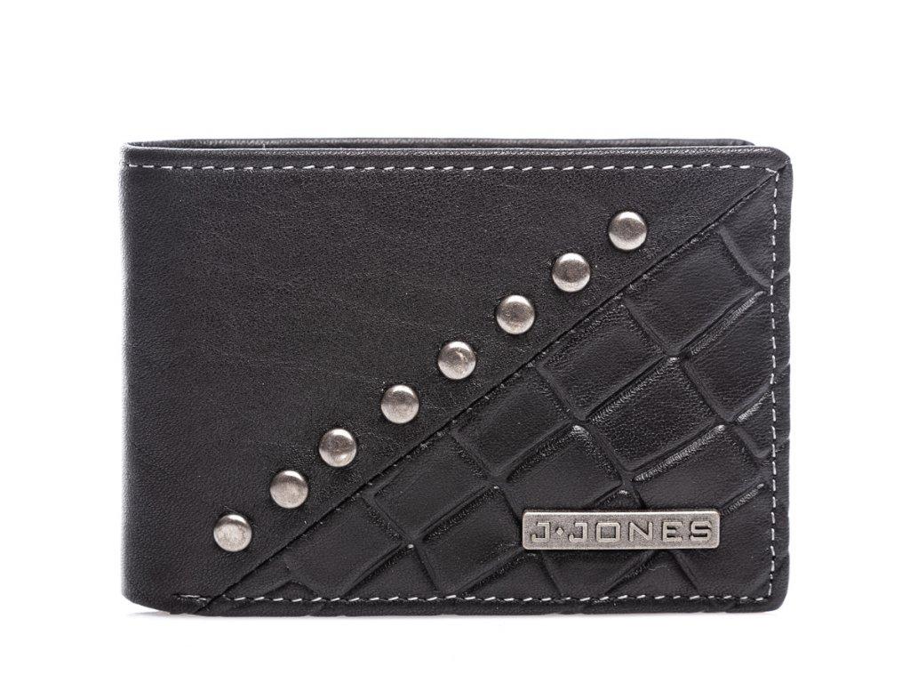 Malá pánská kožená peněženka s cvoky J JONES černá 5562 BK (1)