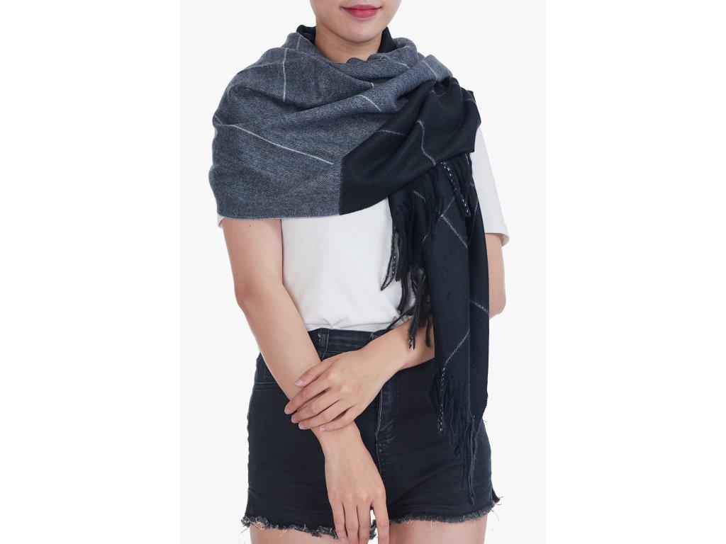 Dámská zimní šála s třásněmi GIL černá 20610 ModexaStyl (2)