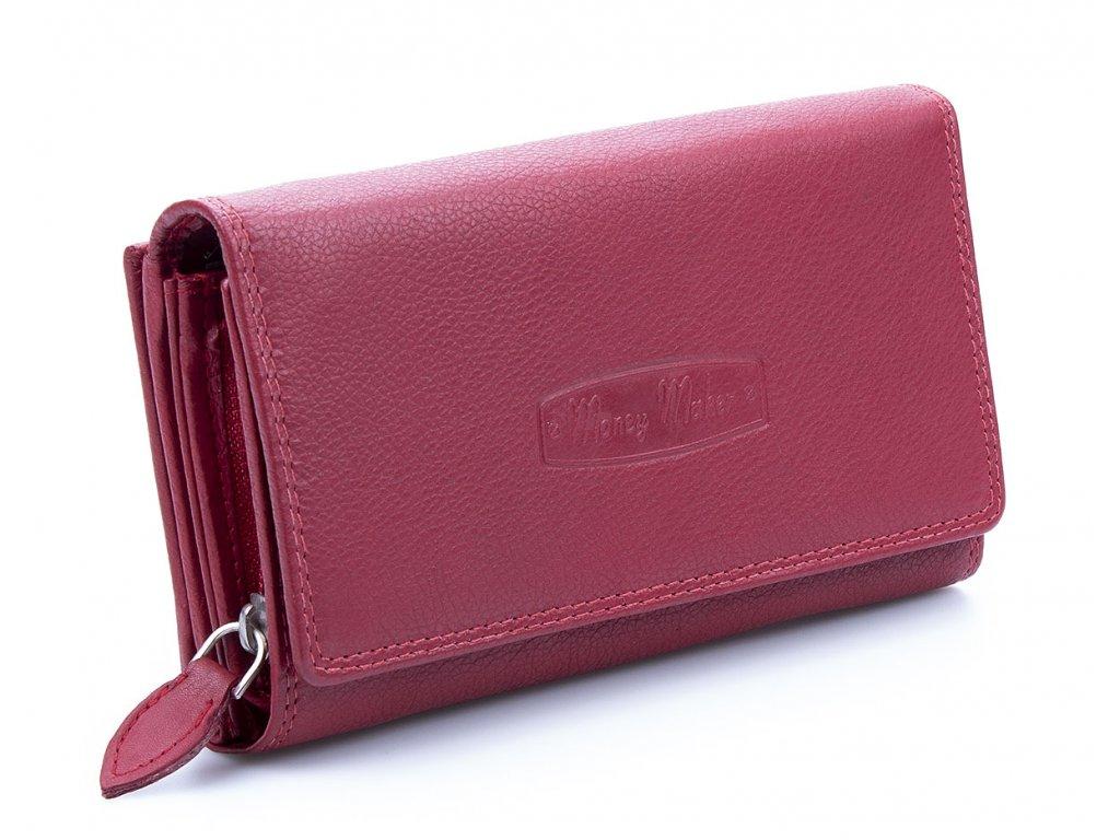 Velká prostorná dámská kožená peněženka Money maker 12137B červená ModexaStyl (1)