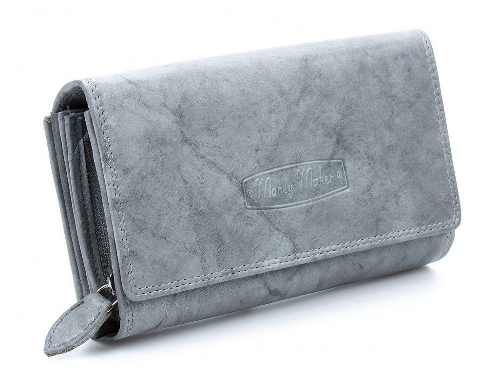 Velká prostorná dámská kožená peněženka Money maker 12137B šedá ModexaStyl (1)