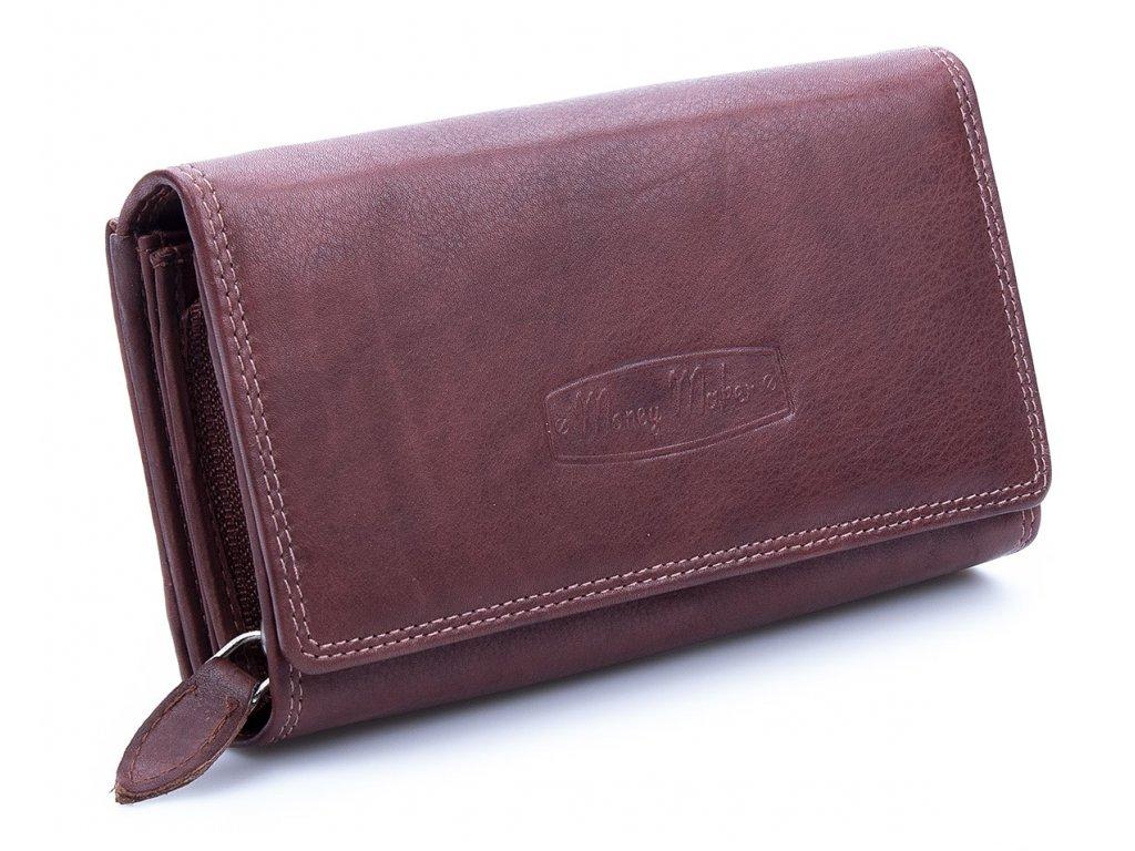 Velká prostorná dámská kožená peněženka Money maker 12137B hnědá ModexaStyl (1)