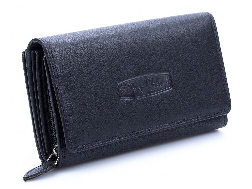 Velká prostorná dámská kožená peněženka Money maker 12137B černá ModexaStyl (1)