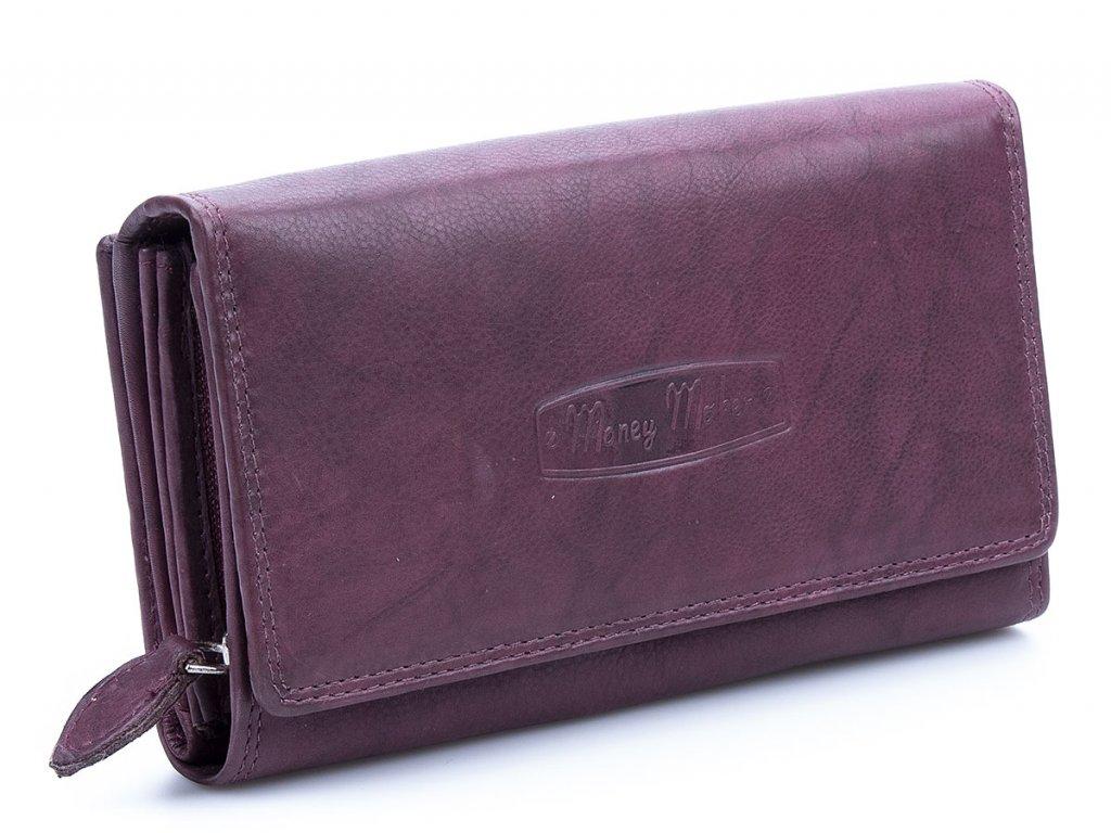 Velká prostorná dámská kožená peněženka Money maker 12137B vínová bordo ModexaStyl (1)
