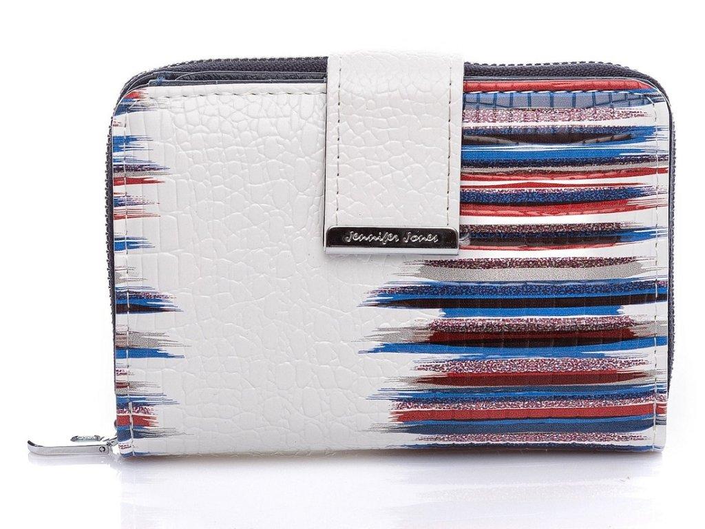 Malá dámská kožená peněženka Jennifer Jones 5198 2 WB bílo modrá ModexaStyl (2)