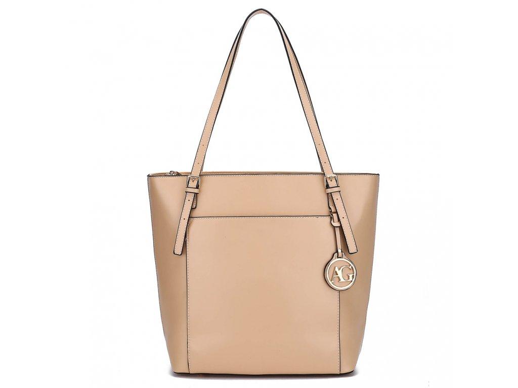 Středně velká kabelka přes rameno Anna Grace AG00770 NE béžová Modexa (2)