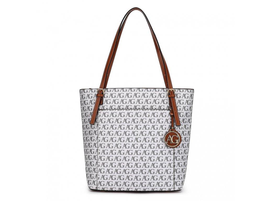 Středně velká kabelka přes rameno Anna Grace AG00770P WT bílá s potiskem Modexa (2)