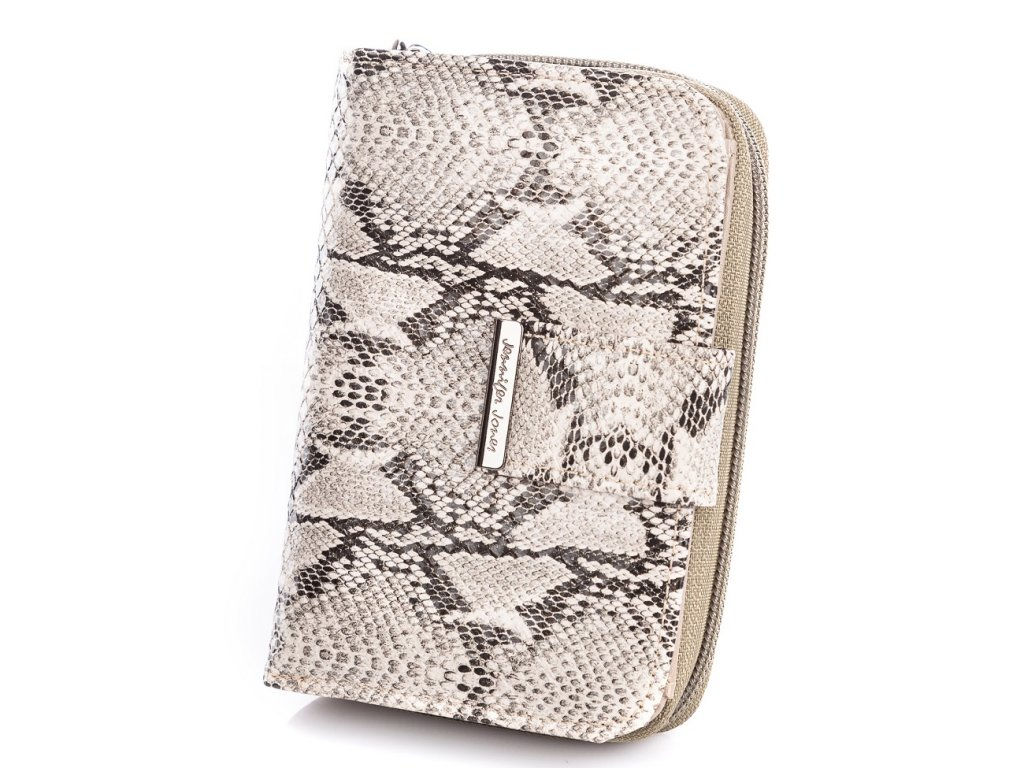 Středně velká dámská peněženka Jennifer Jones 1104 6 hadí kůže šedá Modexa (5)