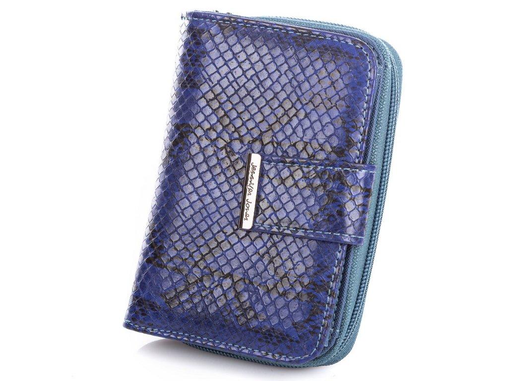 Středně velká dámská peněženka Jennifer Jones 1104 6 hadí kůže modrá Modexa (5)