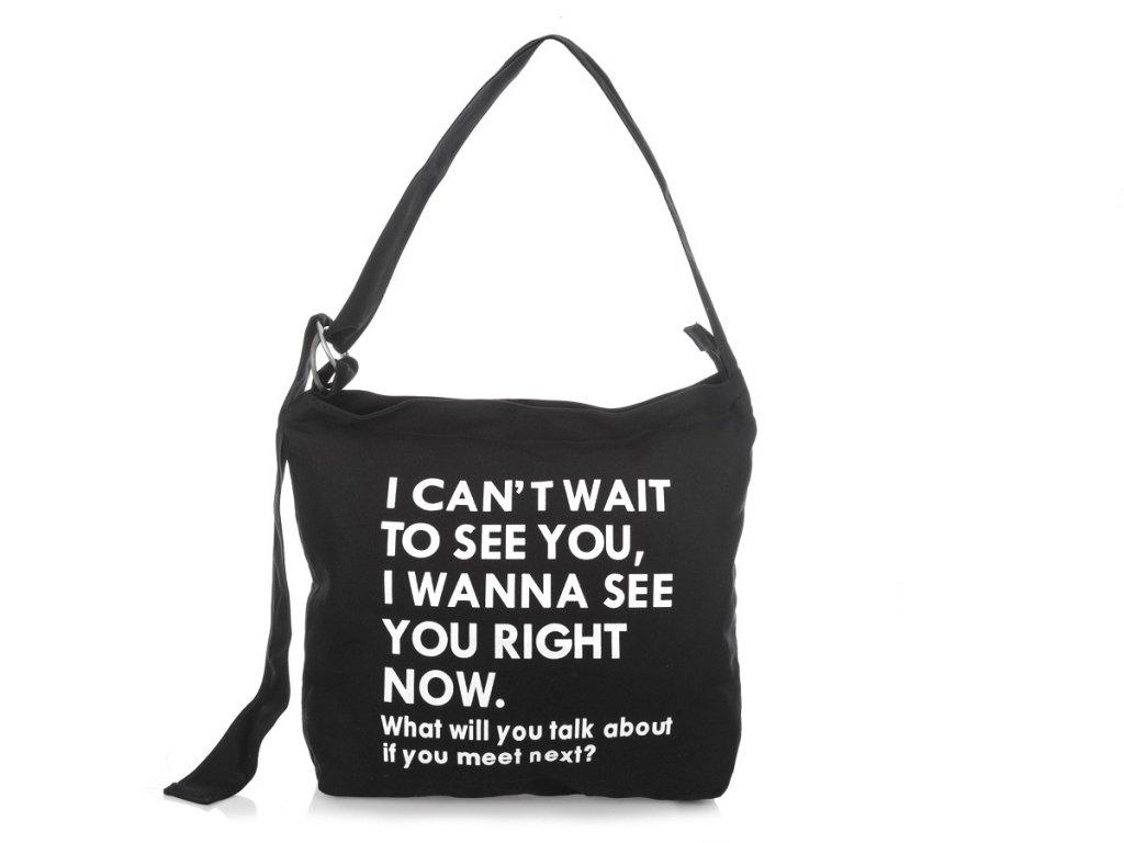 Dámská černá plátěná kabelka přes rameno s potiskem Jennifer Jones 4559 BK ModexaStyl (2)