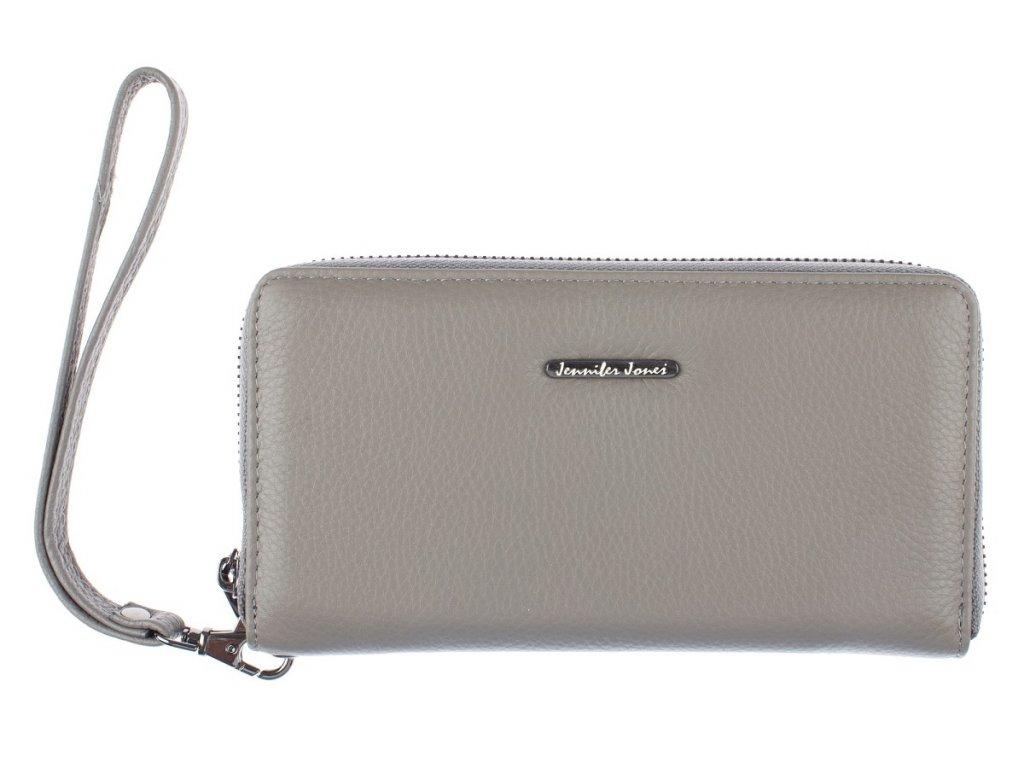 Velká dámská kožená peněženka na zip s poutkem na karabinu jennifer Jones 5297 šedá ModexaStyl (2)