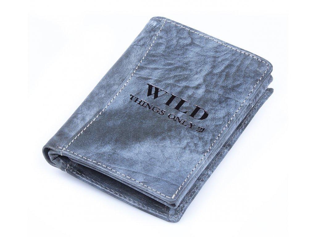 Pánská kožená peněženka Wild modrá modro šedá 5452 ModexaStyl (2)