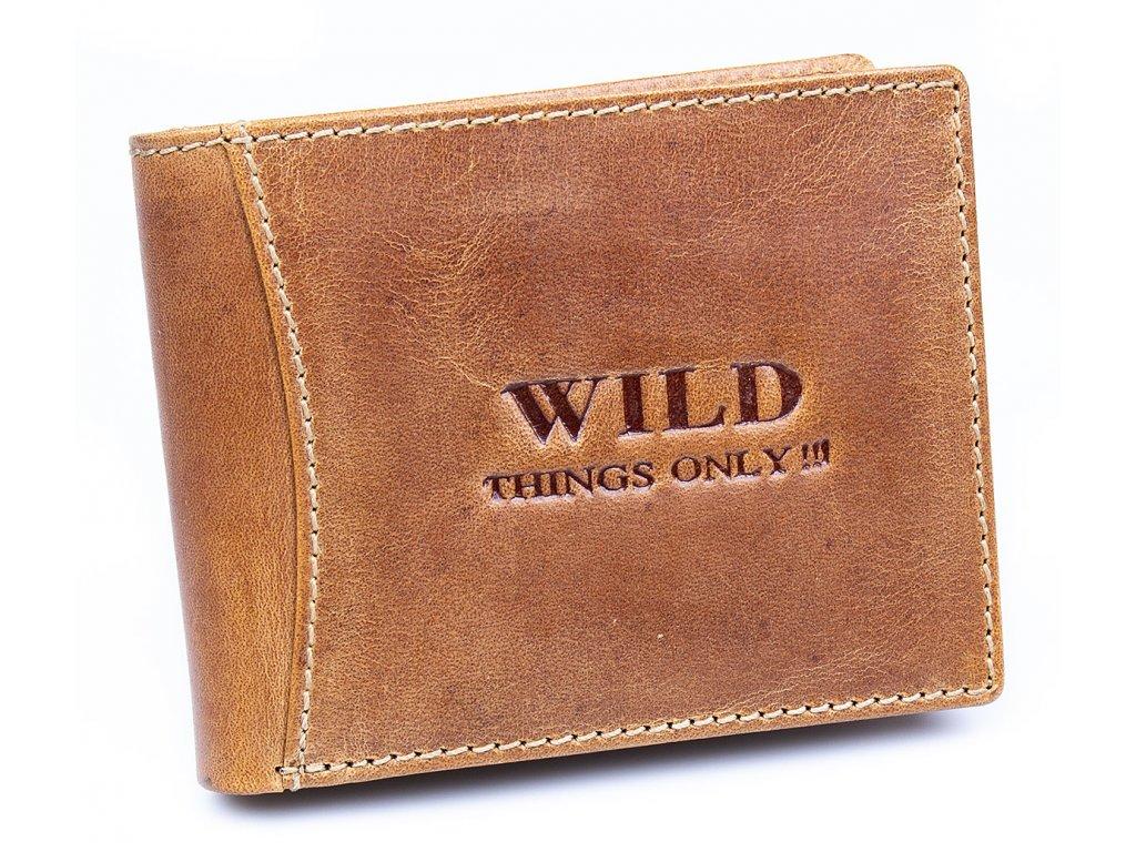 Pánská kožená peněženka Wild 5453 tmavě koňaková světle hnědá ModexaStyl (1)