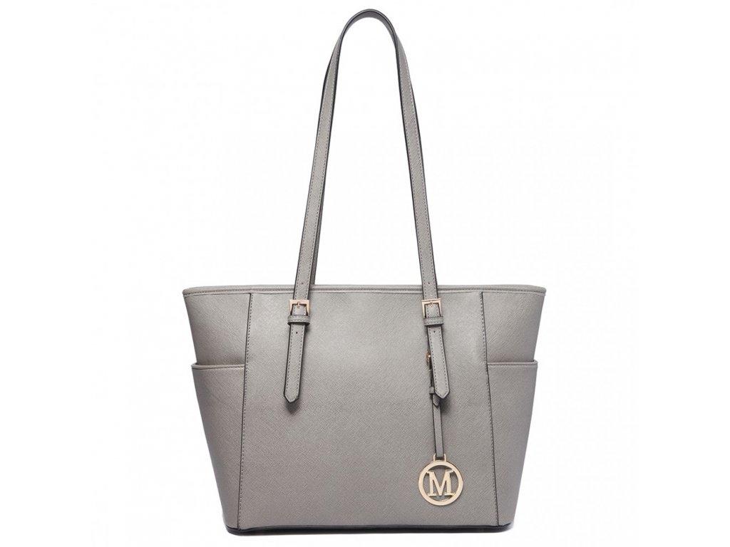 Stylová kabelka přes rameno šedá Miss Lulu LM1642 ModexaStyl (2)