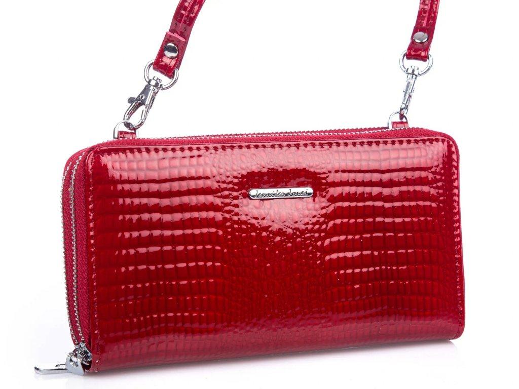 Velká dámská kožená peněženka s popruhem přes rameno červená Jennifer Jones 5276 ModexaStyl (1)