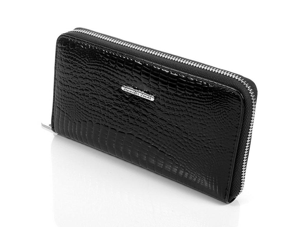 Velká dámská kožená peněženky na zip s poutkem na karabinu černá Jennifer Jones 5295-BK ModexaStyl