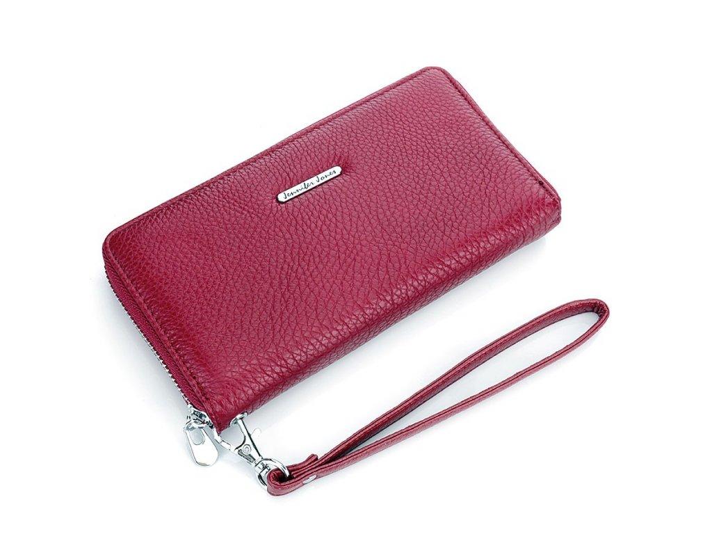 Velká dámská kožená peněženka na zip s poutkem na karabinu jennifer Jones 5297 červená ModexaStyl 2