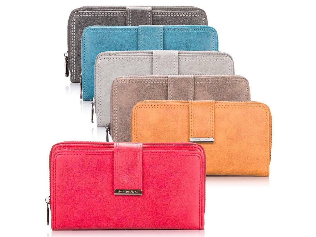 Dámská kožená peněženka Jennifer Jones pastelová tmavě šedá_modrá_světle šedá_hnědá_žlutá_červená ModexaStyl 11023 (3)