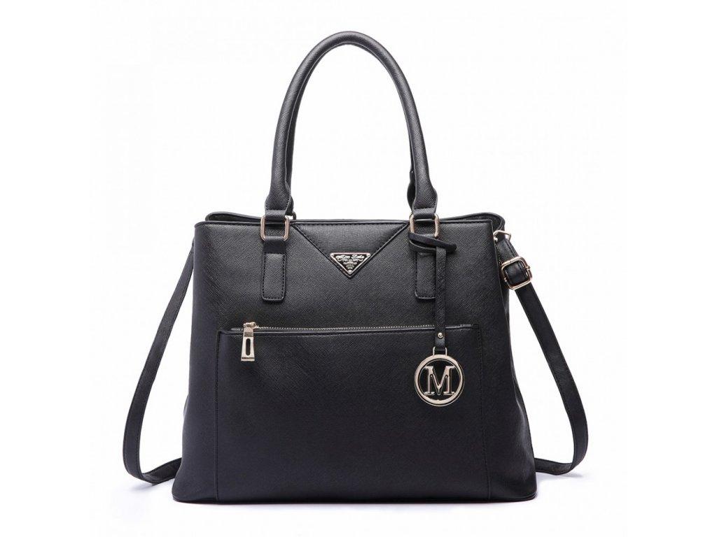 Elegantní dámská kabelka do ruky a přes rameno černá LT6611-BK Miss Lulu