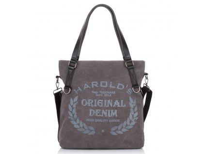Velká kabelka přes rameno a do ruky Canvas Harolds 4540 šedá
