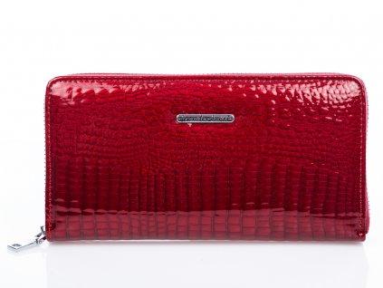 Velká dámská kožená peněženka na zip 5247-2 - červená