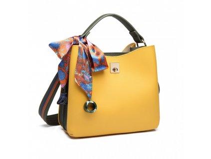 Elegantní malá kabelka do ruky a přes rameno Miss Lulu E1813 žlutá