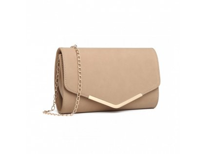 Elegantní večerní kožená kabelka psaníčko Miss Lulu LH1756 béžová ModexaStyl (3)
