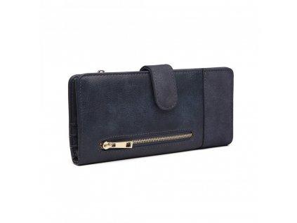 Dámská velká peněženka z umělé kůže Miss Lulu modrá LN6883 BE (4)