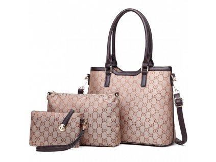 Elegantní dámská kabelka sada kabelek Miss Lulu barva hnědá LT1749 BN (3)