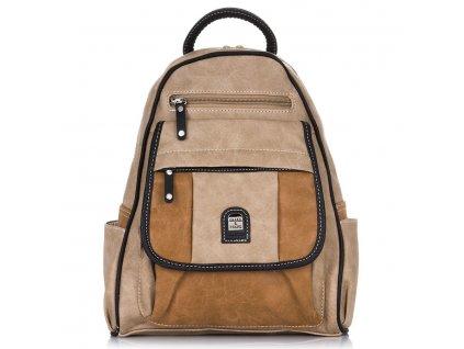 Módní dámský kožený batoh Charm Schape 15119A béžový (1)