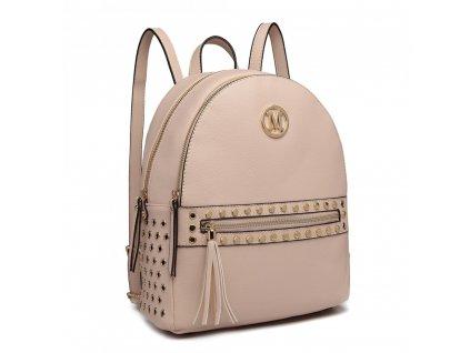 Dámský kožený batůžek Miss Lulu béžový LH6807 (4)
