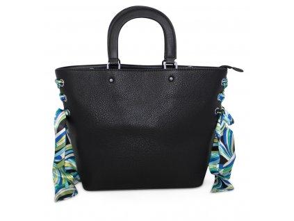 Dámská kabelka do ruky a přes rameno s dekorativním šátkem 888 BK černá (2)