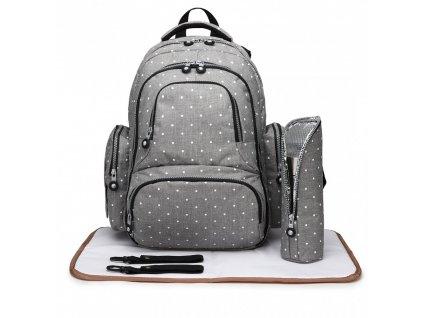 Mateřský přebalovací batoh na kočárek Miss Lulu E6706D2 GY šedý s puntíky (1)