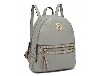 Dámský kožený batůžek Miss Lulu šedý LH6807 (3)