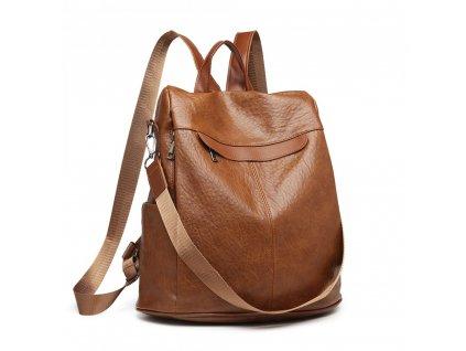Dámský kožený batůžek a kabelka přes rameno 2 v 1 KONO E1932 BN hnědý (3)