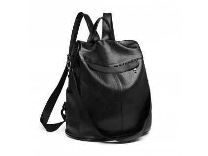 Dámský kožený batůžek a kabelka přes rameno 2 v 1 KONO E1932 BK černý (3)