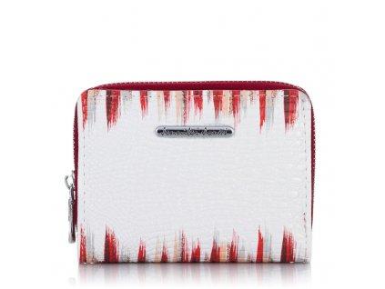 Malá dámská kožená peněženka červeno bílá Jennifer Jones 5248 (1)